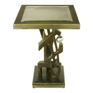 Bronzed Metal and Resin Artisan Sculpture Side Table with Chrome Ball