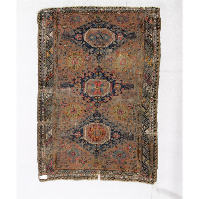 Antique Persian Sumak Kilim Rug- 5′ × 7′2″ - Image 2 of 6