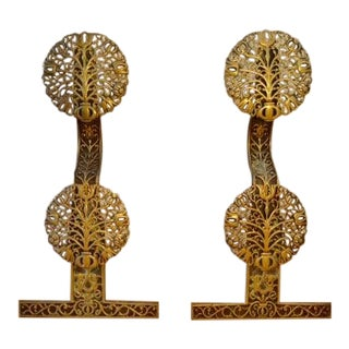1900s Arts and Crafts Filigree Brass and Iron Andirons - a Pair For Sale
