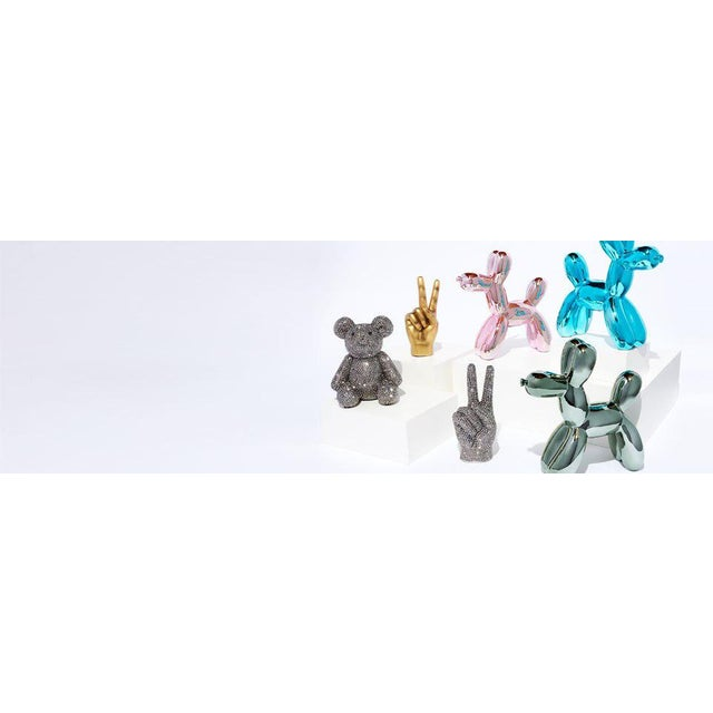 "Ceramic Interior Illusions Plus Blue Mini Balloon Dog Bank - 7.5"" Tall For Sale - Image 7 of 7"