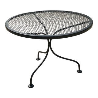 Vintage a Black Wrought Iron Garden Table For Sale