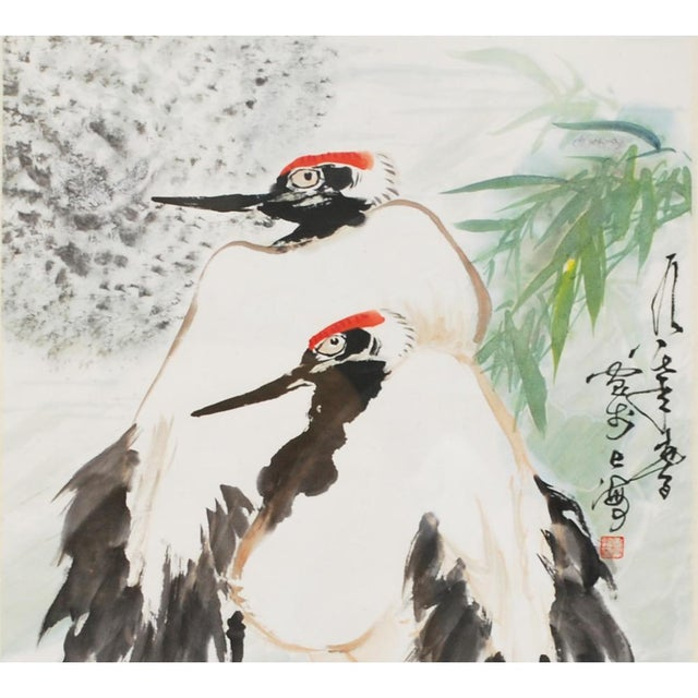 A beautiful large Japanese watercolor depicting two red-crowned cranes. The Red-crowned cranes are symbol of longevity,...