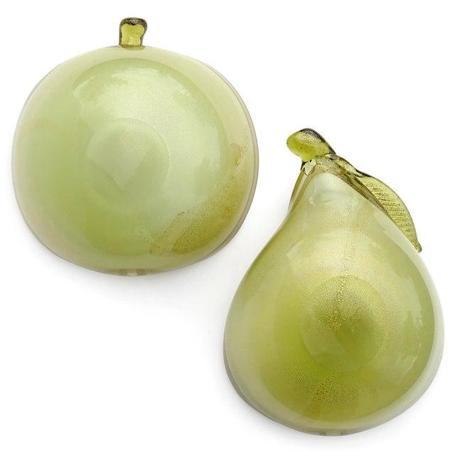 Barbini Murano Vintage Green Apple Pear Gold Flecks Italian Art Glass Mid Century Fruit Bowls - a Pair For Sale - Image 10 of 12