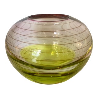 Clear/Burgundy/Yellow Glass Vase For Sale