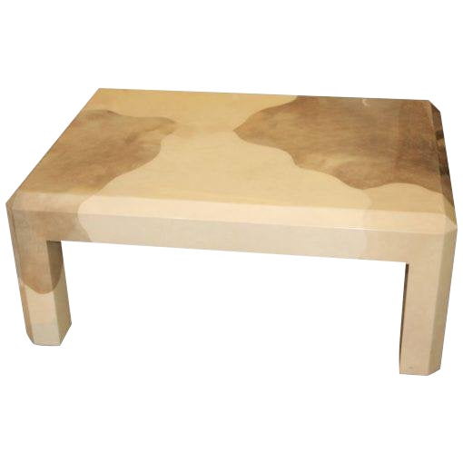 Karl Springer Tri Color Goatskin Parchment Coffee Table For Sale