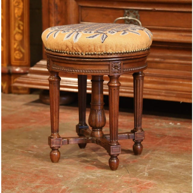Yellow 19th Century French Louis XVI Carved Walnut Round Adjustable Swivel Piano Stool For Sale - Image 8 of 10