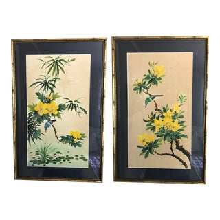 Chinese Silk Paintings in Faux Bamboo Gilded Gold Frames - a Pair