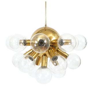 Sputnik Globe Lamp Glass and Brass Chandelier by J.T. Kalmar, 1960 For Sale