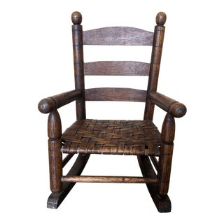 Basket Weave Country Child's Rocking Chair For Sale