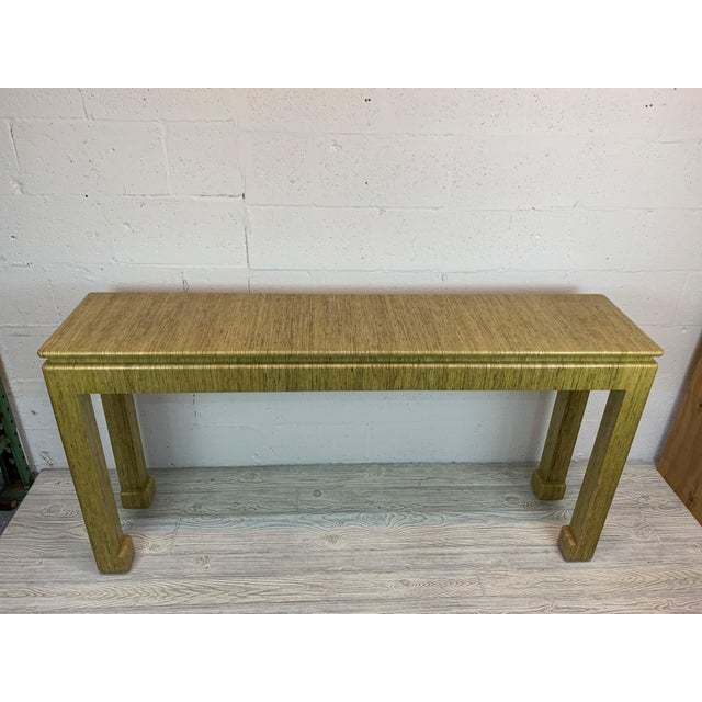 1970's Karl Springer Style Grass-Wrapped Lacquered Console Table For Sale - Image 10 of 10