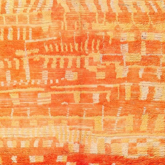 Vintage Moroccan Orange Wool Rug - 4′6″ × 6′6″ For Sale - Image 4 of 6