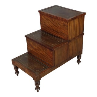 19th Century Georgian Antique Mahogany Library Steps For Sale
