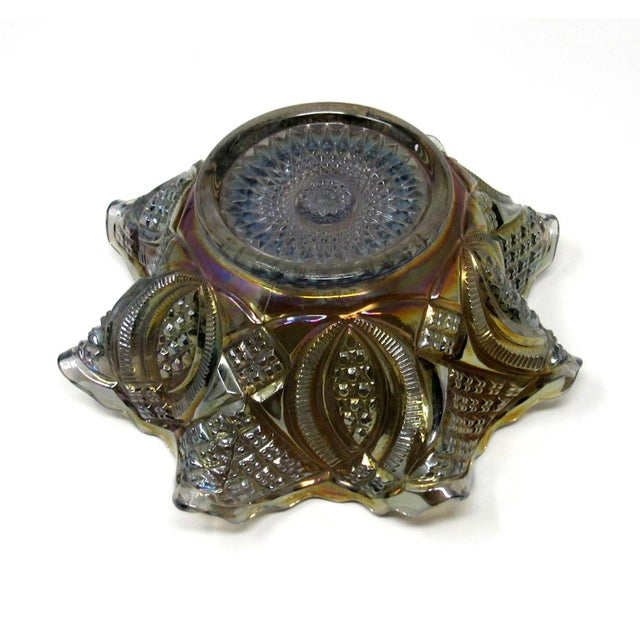 Antique Imperial Smoke Diamond Ring Carnival Glass Bowl For Sale In Los Angeles - Image 6 of 8