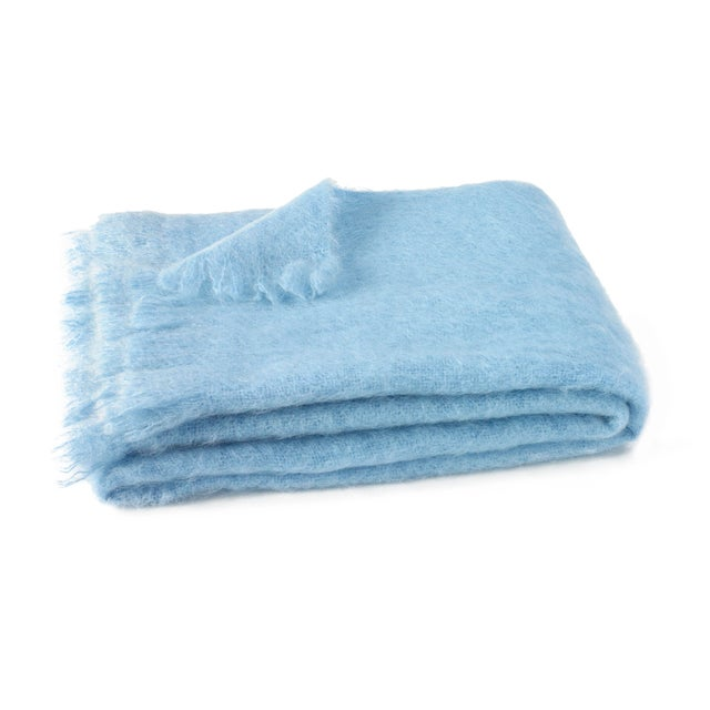 Transitional Sky Brushed Mohair Throw For Sale - Image 3 of 3
