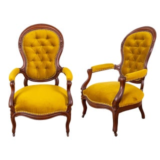 Vintage Mustard Color Arm Chairs- A Pair For Sale