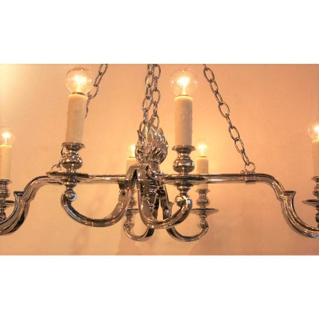 Late 19th Century Antique Neoclassical Nickel Plated Bronze 8 Arm Chandelier For Sale - Image 5 of 6