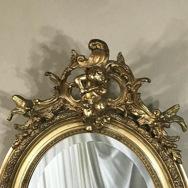 19th Century French Louis XV Gilded Mirror With Cherub For Sale - Image 4 of 11