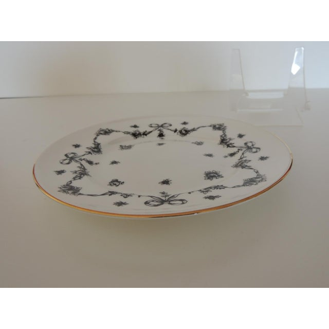 Early 20th Century Royal Victoria English White and Black Bone China Dessert Plate For Sale - Image 5 of 7