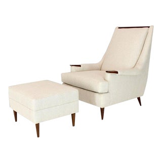 1970s Mid-Century Modern Lounge Chair and Ottoman - 2 Pieces For Sale
