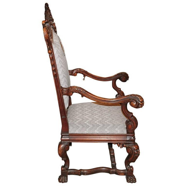 Spanish Hand-Carved Wood With 24-Karat Gold-Plated Bronze Emblem Kings Chair - Image 4 of 11