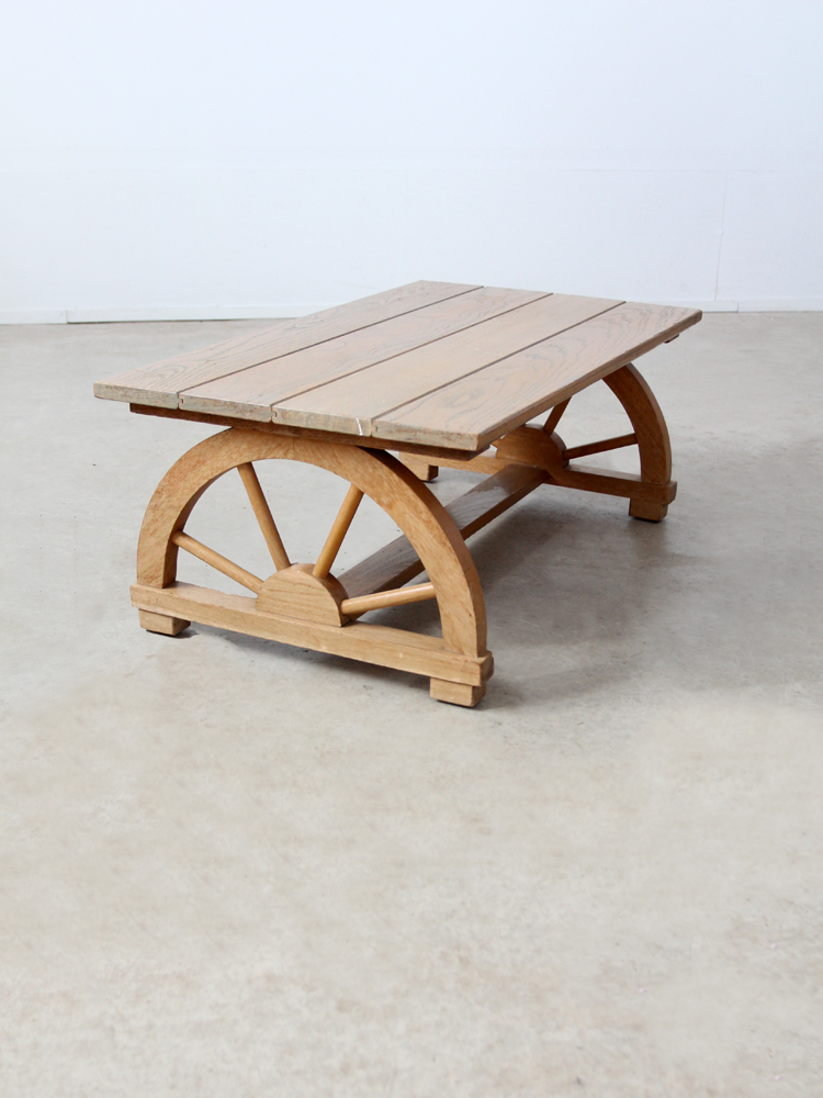 Wood Vintage Wagon Wheel Coffee Table For Sale   Image 7 Of 7
