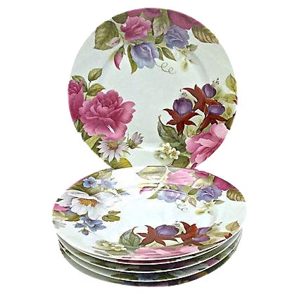 Vintage Porcelain Limoges Floral Plates - Set of 6 For Sale