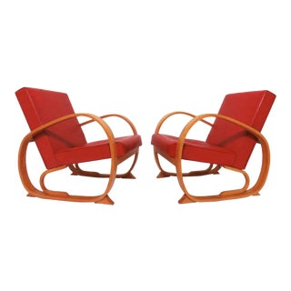 1930s Art Deco Bentwood Club Chairs- A Pair For Sale