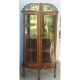 Antique American Oak Double Bowed Glass China Cabinet Preview