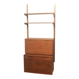 1960s Danish Modern Wall Unit-Noral Olson-Kopenhavn-Flip Down Secretary Desk For Sale