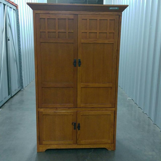 Contemporary Carved Maple Wooden Armoire - Image 2 of 4