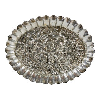 Small Ornate Silver Plate Dish For Sale
