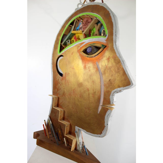 Wood Circa 1994 Contemporary Two-Sided Floor Sculpture Man Signed Dated by Dewey Blocksma For Sale - Image 7 of 9
