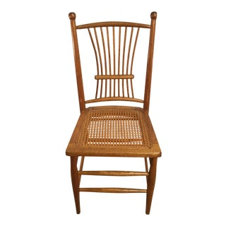 Antique American Spindle Back Caned Desk Chair