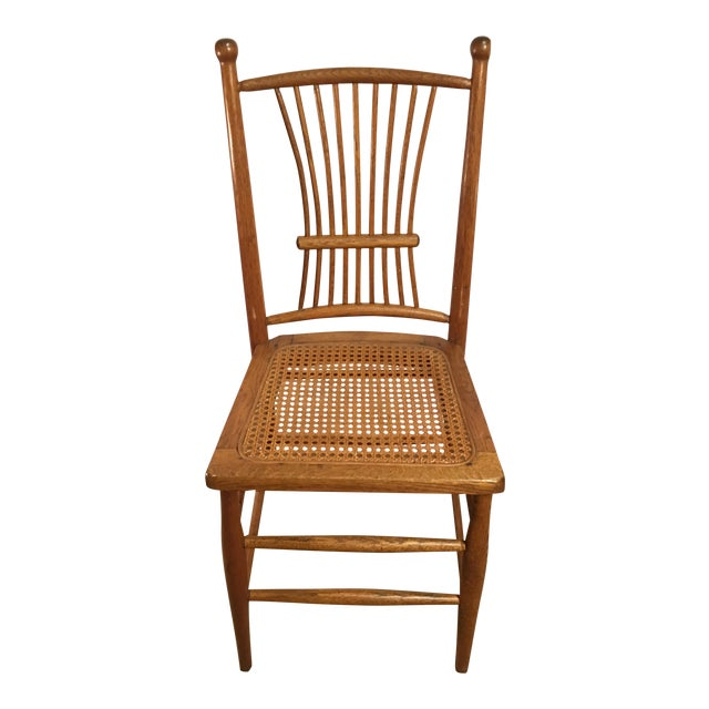 Antique American Spindle Back Caned Desk Chair - Image 1 of 4