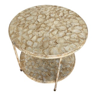 Tiered Round Shell Table on Casters For Sale