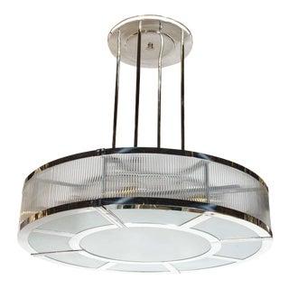 Streamline Art Deco Style Circular Chandelier in Polished Nickel & Glass For Sale