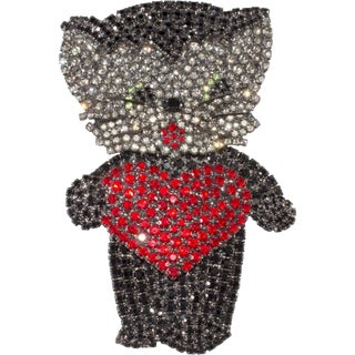 "Von Walhof Brooch Pin 4"" Huge Kitty Cat Red Heart Rhinestones Kitten Love For Sale"