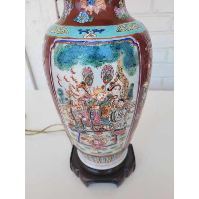 Vintage Mid Century Chinese Hand Carved Lamp For Sale - Image 4 of 11