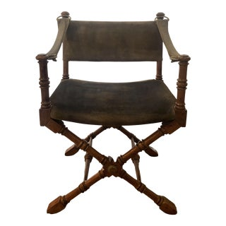 Vintage Mid Century 1950s Burnished Brass and Fruitwood Olive Green Suede Directors Safari Style Chair For Sale