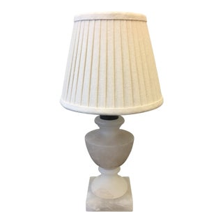 Alabaster Table Lamp With Custom Shade For Sale