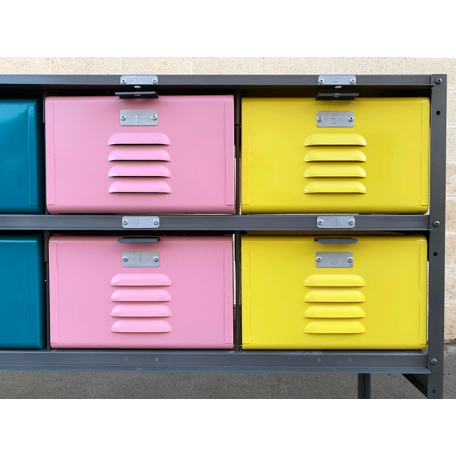 Metal Custom Made 5 X 2 Locker Basket Unit With Multicolored Drawers and Shelf For Sale - Image 7 of 9