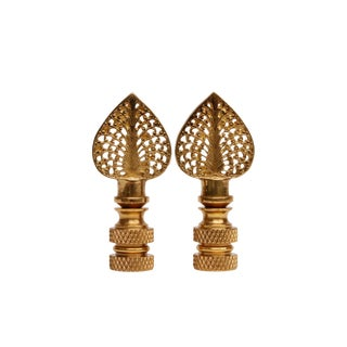 Solid Brass Filigree Finials - a Pair For Sale