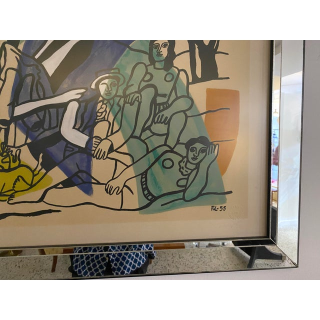 """Mid-Century Modern Leger Style Lithograph """"Partie De Campagne"""" (Country Party) For Sale In West Palm - Image 6 of 9"""