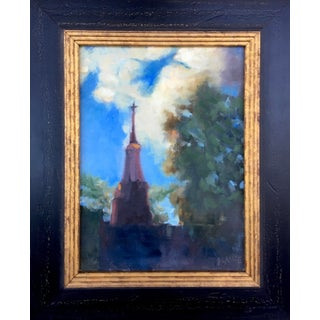 """""""St. John's Light"""" Contemporary Plein Air Landscape with Church Oil Painting, Framed For Sale"""