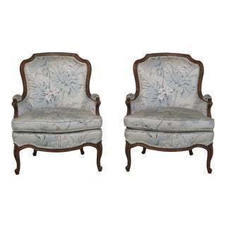 Drexel Louis XV Style Upholstered Bergere Chairs - a Pair