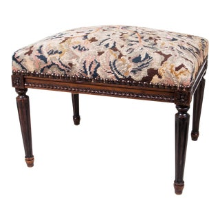 Early 20th Century Tree of Life Needlepoint Footstool For Sale