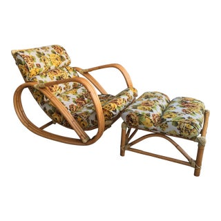 1960s Mid-Century Modern Pretzel Bentwood Bamboo Rattan Lounge Chair and Ottoman - 2 Pieces