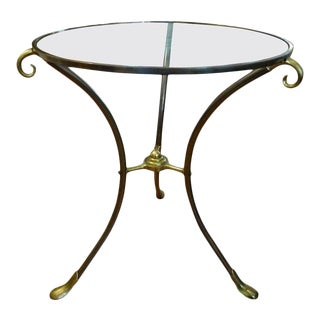 French Maison Baguès Style Bronze Table or Guéridon With Glass Top For Sale
