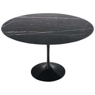 Large Round Black Marble Top Tulip Base Saarinen for Knoll Dining Table For Sale