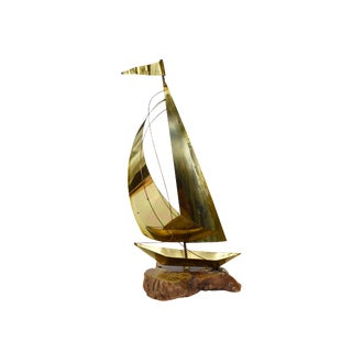 Vintage Tall Brass Sail Boat on Driftwood Base Sculpture For Sale